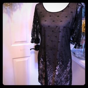Black Lace , Pink Underlay Tunic